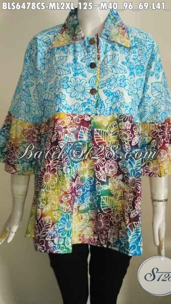 Pakaian Batik Warna Gradasi, Busana Batik Blus Halus Modis Proses Cap Smoke Motif Trendy Untuk Penampilan Makin Modis [BLS6478CS-M , L]