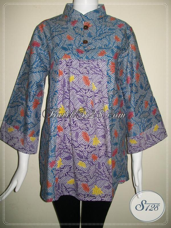 Blus Batik Dua Warna Baju Batik Wanita Model Terkini