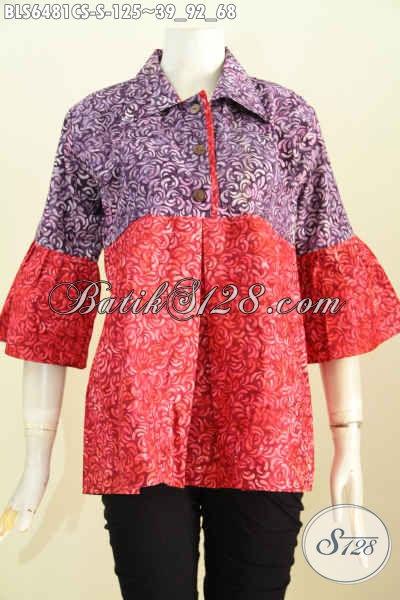Blus Batik Wanita Muda, Baju Batik Cap Smoke Kombinasi Dua Warna Bahan Adem Model Kerah Lancip Cocok Untuk Pakaian Kerja [BLS6481CS-S]