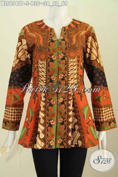 Blus Batik Motif Klasik, Baju Batik Halus Tanpa Kerah Model Lengan Panjang Proses Pirnting Hanya 135K [BLS6549P-S]