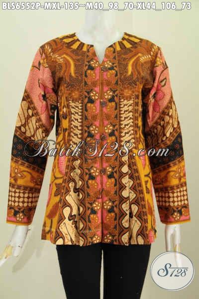Pakaian Batik Masa Kini Untuk Wanita Karir Tampil Gaya Dan Mempesona Dengan Bahan Adem Motif Klasik Model Lengan Panjang Tanpa Krah Harga 100 Ribuan [BLS6552P-M]