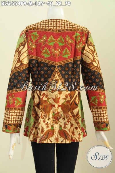 Jual Online Batik Blus Modern, Pakaian Batik Elegan Motif Klasik Untuk Wanita Muda Model Lengan Panjang Tanpa Krah Bahan Adem Nyaman Di Pakai [BLS6554P-M]