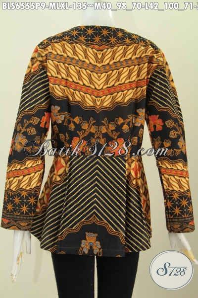 Sedia Baju Batik Solo Masa Kini, Produk Blus Batik Lengan Panjang Tanpa Krah Motif Klasik Proses Printing Hanya 135K [BLS6555P-M]