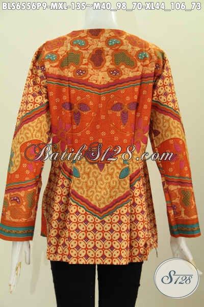 Online Shop Busana Batik Solo, Sedia Blus Tanpa Krah Model Lengan Panjang Motif Bagus Proses Printing Untuk Tampil Lebih Sempurna [BLS6556P-M]