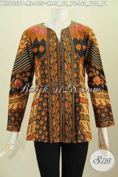 Blus Batik Seragam Kerja Wanita Karir, Pakaian Batik Halus Proses Printing Motif Klasik Bahan Halus Model Tanpa Krah Lengan Panjang Hanya 130 Ribuan [BLS6557P-M, L]