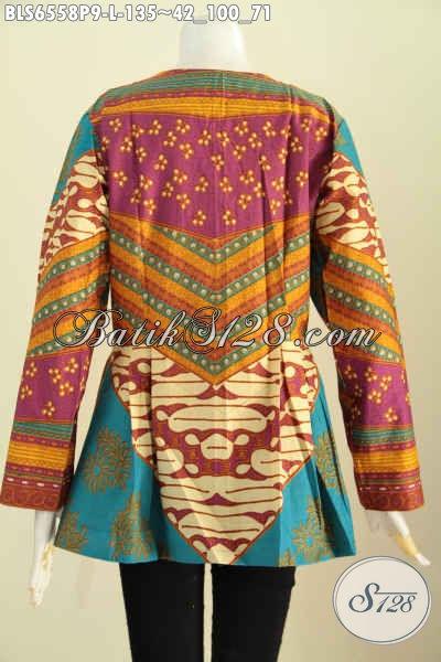 Jual Baju Blus Batik Solo Tanpa Krah, Baju Batik Kerja Lengan Panjang Proses Printing Motif Mewah Cocok Juga Untuk Wanita Berhijab [BLS6558P-L]