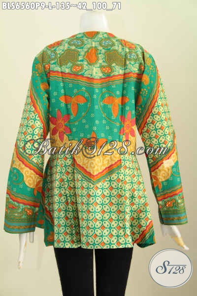 Jual Baju Batik Bagus Harga Terjangkau, Blus Batik ELegan Proses Printing Bahan Adem Model Tanpa Krah Untuk Penampilan Lebih Istimewa [BLS6560P-L]