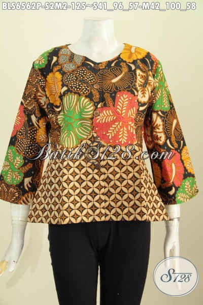 Busana Batik Wanita Kantoran, Pakaian Batik Jawa Tengah Halus Proses Printing Buatan Solo Harga 100 Ribuan Model Tanpa Krah [BLS6562P-S]