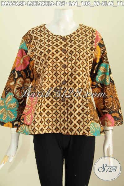 Toko Baju Batik Online, Sedia Blus Tanpa Krah Desain Trendy Motif Klasik Bahan Adem Proses Printing Harga 125 Ribu [BLS6563P-XL]