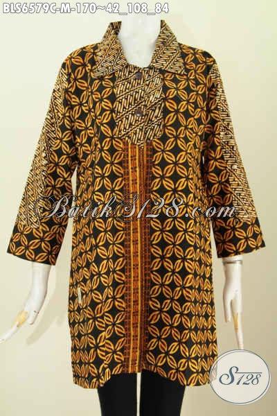 Blus Batik Wanita Muda, Pakaian Batik Elegan Motif Klasik Warna Soga Proses Cap Model Kerah Lancip Nan Istimewa [BLS6579C-M]