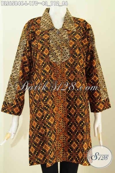 Pakaian Batik Untuk Kerja, Blus Batik Halus 2 Motif Bahan Adem Proses Cap Asli Buatan Solo Pake Warna Soga [BLS6584C-L]