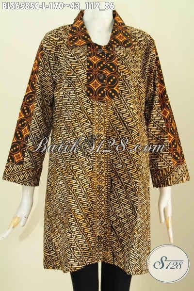Busana Batik Solo Halus Elegan Proses Cap, Baju Batik Warna Soga 2 Motif Klasik Model Kerah Lancip Untuk Penampilan Lebih Anggun [BLS6585C-L]