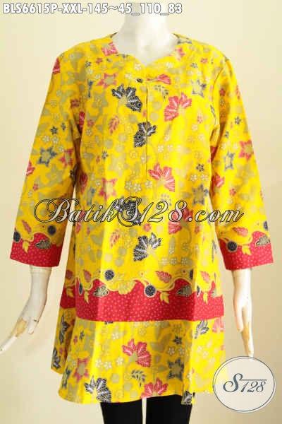 Blus Baitk Kuning Motif Bunga Bahan Halus Proses Printing, Pakaian Batik Kerah Paspol Untuk Penampilan Lebih Trendy [BLS6615P-XXL]