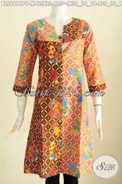 Baju Blus Batik Terusan, Pakaian Batik Halus Dan Istimewa Motif Berkelas Model Kerah V UntukPenampilan Makin Trendy [BLS6618P-M , L , XL]