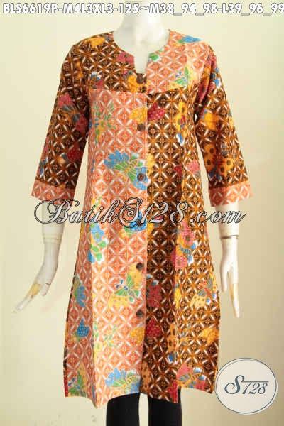 Batik Blus Modern, Pakaian Batik Nan Istimewa, Busana Batik Terusan Proses Printing Motif Trendy Desain Kerah V Hanya 125K [BLS6619P-M , L , XL]