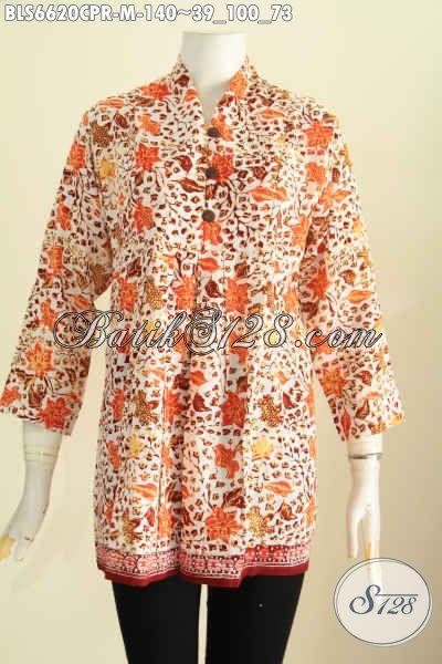Baju Batik Blus Bahan Paris, Hadir Dengan Desain Terkini Lebih Keren Dan Cantik, Pakaian Batik Proses Cap Cocok Buat Santai [BLS6620CPR-M]