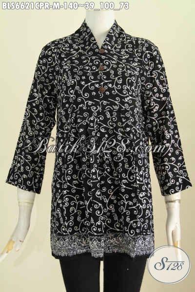Jual Baju Batik Blus Dasar Hitam Motif Elegan Proses Cap, Pakaian Batik Bahan Paris Lebih Lembut Dan Nyaman Di Pakai [BLS6621CPR-M]