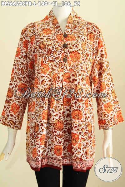 Blus Batik Motif Paling Baru Dengan Desain  Keren Proses Cap, Baju Batik Bahan Kain Paris Untuk Wanita Tampil Makin Bergaya [BLS6624CPR-L]