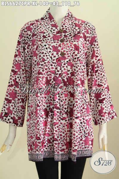 Pakaian Batik Modern Warna Cerah Motif Unik Proses Cap, Blus Batik Keren Bahan Kain Paris Trendy Dan Berkelas [BLS6627CPR-XL]