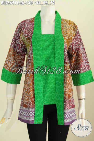 Baju Batik Wanita Modern Desain Klasik Kutu Baru, Pakaian Batik Paduan Kain Polos Proses Cap Cocok Untuk Acara Resmi [BLS6631C-M]