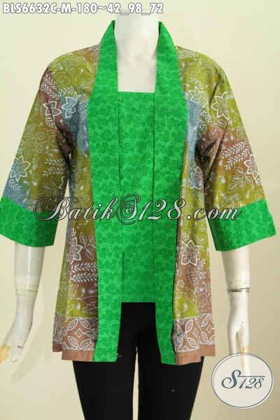 Pakaian Batik Cewek Model Kutu Baru, Baju Blus Istimewa Desain Formal Motif Mewah Proses Cap Kerah Kartini Tampil Makin Elegan [BLS6632C-M]