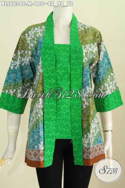 Baju Batik Trend Masa Kini, Blus Batik Solo Halus Proses Cap Desain Kutu Baru Lebih Elegan Dan Etnik Tampil Istimewa [BLS6634C-M]