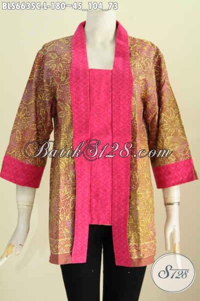 Batik Blus Kurtu Baru Kombinasi Dua Warna Motif Klasik Nan Berkelas Proses Cap Kerah Kartini [BLS6635C-L]