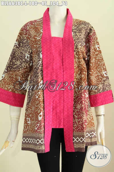 Agen Busana Batik Solo Online, Sedia Blus Batik Kutu Baru Bahan Halus Motif Berkelas Proses Cap Harga 180K [BLS6638C-L]