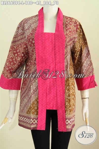 Baju Blus Batik Motif Klasik Model Kutu Baru, Busana Batik Kerah Kartini Untuk Acara Formal Proses Cap Kwalitas Premium [BLS6639C-L]