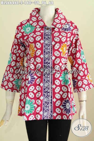 Blus Batik Wanita Muda Masa Kini, Pakaian Batik Desain Benang Besar Bahan Halus Motif Keren Proses Cap Tulis Berpadu Warna Trendy Tampil Lebih Kece [BLS6646CT-S]