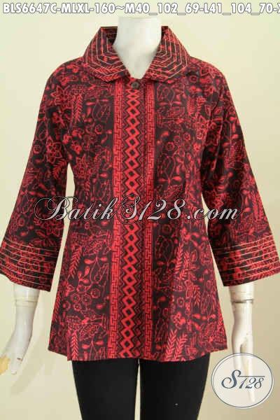 Pakaian Blus Benang Besar Khas Jawa Tengah, Baju Batik Halus Proses Cap Desain Terkini Untuk Wanita Terlihat Istimewa [BLS6647C-M , L]