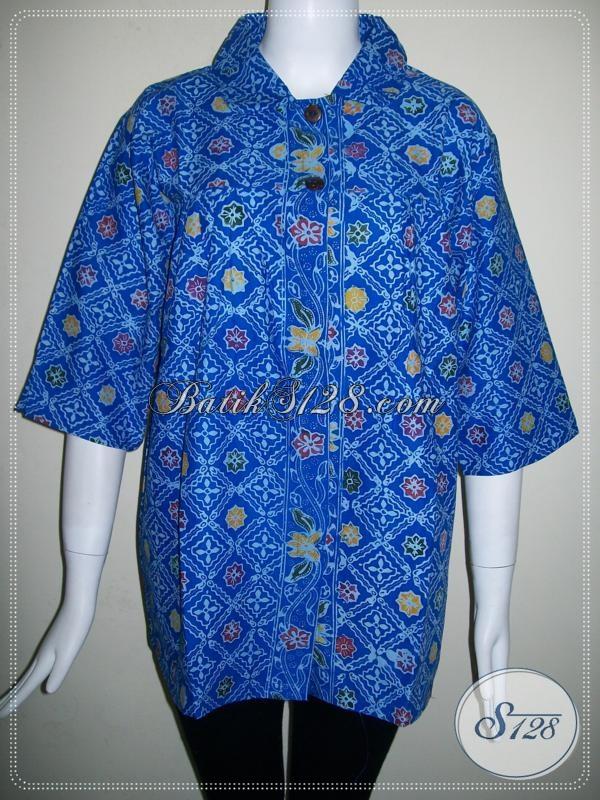 Batik Warna Biru Trend Tahun 2104,Blus Wanita BAtik Ukuran Kecil [BLS664C]