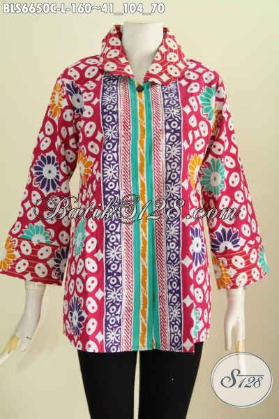 Jual Baju Blus Benang Besar Motif Keren Banget, Busana Batik Elegan Dan Trendy Proses Cap Buatan Solo Tampil Lebih Menawan [BLS6650C-L]