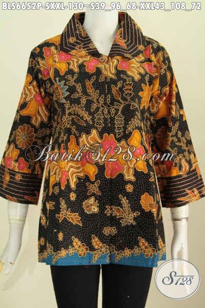 Batik Blus Elegan Motif Mewah Proses Printing, Baju Batik Benang Besar Dari Solo, Istimewa Untuk Seragam Kerja [BLS6652P-S]