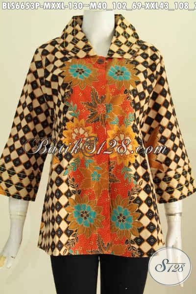 Blus Batik Istimewa Motif Bagus Banget, Baju Batik Kekinian Benang Besar Proses Printing Hanya 130K [BLS6653P-M , XXL]