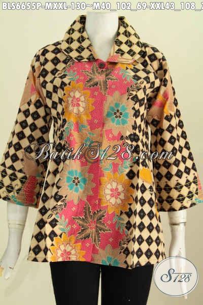 Pakaian Batik Kerja Wanita Karir, Blus Benang Besar Desain Kekinian Untuk Penampilan Beda Dan Berkelas [BLS6655P-XXL]