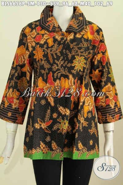 Aneka Baju Batik Solo Terkini, Batik Blus Benang Besar Khas Jawa Tengah Untuk Penampilan Makin Elegan Dan Istimewa Hanya Dengan 100 Ribuan [BLS6656P-S , M]