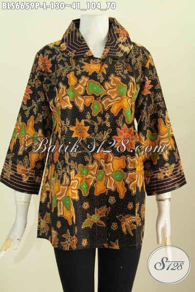 Baju Batik Untuk Tampil Gaya, Blus Benang Besar Buatan Solo Untuk Wanita Karir Bahan Halus Motif Mewah Printing Harga Murmer [BLS6659P-L]