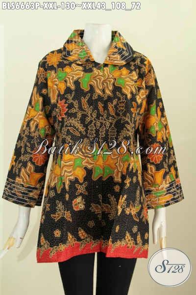 Baju Batik Elegan Dan Mewah Harga Murah, Pakaian Batik Blsu Benang Besar Buatan Solo Bahan Adem Proses Printing Spesial Untuk Wanita Gemuk [BLS6663P-XXL]