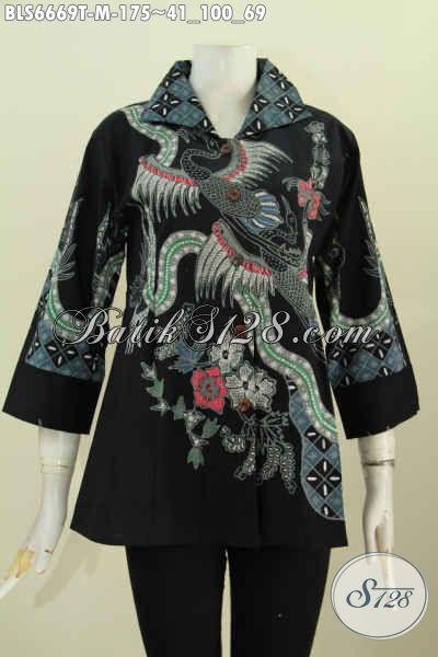 Baju Blus Batik Kerah Kotak Dasar Hitam Motif Keren Proses Tulis Hanya 175K Model Lengan 7/8 [BLS6669T-M]