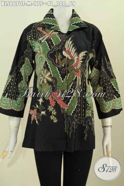 Blus Batik Lengan 7/8 Untuk Wanita Muda, Baju Batik Tulis Istimewa Motif Unik  Tampil Lebih Menarik [BLS6670T-M]