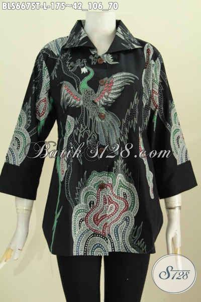 Baju Batik Halus Dasar Hitam Motif Berkelas Proses Tulis, Pakaian Batik  Lengan 7/8 Kerah Kotak Istimewa Untuk Ke Kantor [BLS6675T-L]