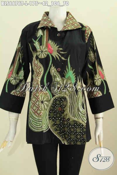 Sedia Baju Batik Solo Terkini, Blus Batik Wanita Karir Lengan 7/8 Model Kerah Kotan Bahan Halus Proses Tulis Hanya 175K [BLS6676T-L]