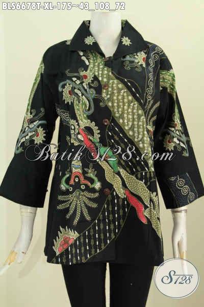 Online Shop Pakaian Batik Solo, Sedia, Blus Lengan 7/8 Bahan Adem Motif Keren Model Kerah Kotak Harga 175 Ribu [BLS6678T-XL]