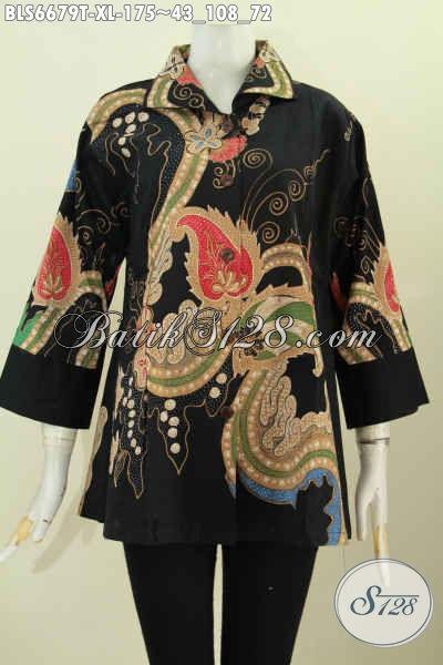 Jual Baju Blus Batik Modern Proses Tulis, Pakaian Batik Istimewa Lengan 7/8 Model Kerah Kotak Untuk Penampilan Lebih Elegan [BLS6679T-XL]