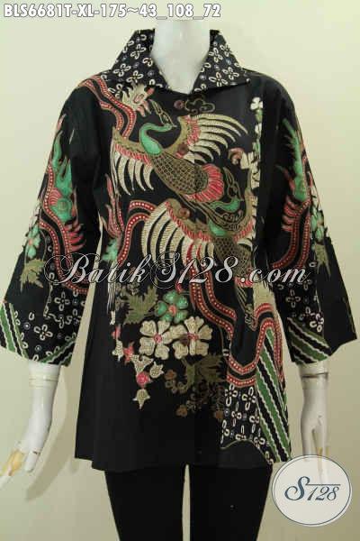 Produk Baju Batik Solo Masa Kini, Blus Batik Wanita Dewasa Proses Tulis Model Kerah Kotak Lengan 7/8 Untuk Tampil Istimewa [BLS6681T-XL]