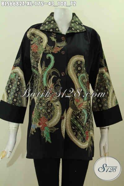 Produk Baju Batik Solo Elegan Lengan 7/8, Blus Batik Kerah Kotak Motif Trendy Proses Tulis Harga 175K [BLS6682T-XL]