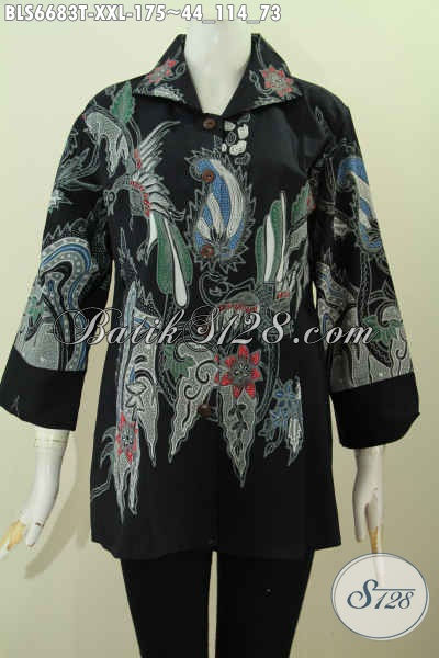 Pakaian Batik Solo Terkini, Baju Blus Batik Khas Jawa Tengah Elegan Motif Kekinian Proses Tulis Bahan Adem Lengan 7/8 Hanya 100 Ribuan [BLS6683T-XXL]