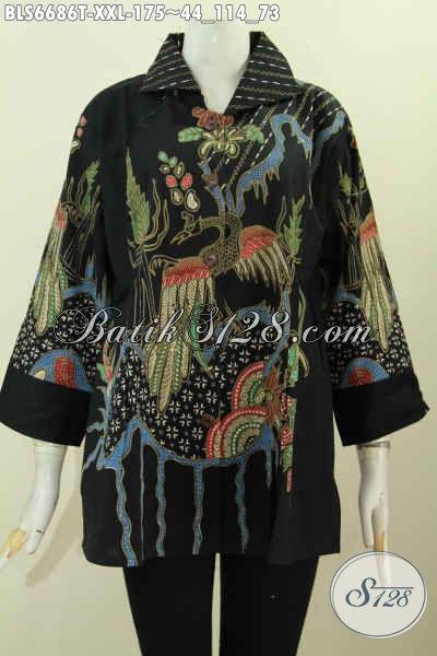 Pakaian Batik Solo Terkini, Baju Batik Berkelas Lengan 7/8 Ukuran Jumbo Model Kerah Kotak Untuk Tampil Rapi Dan Menawan [BLS6686T-XXL]