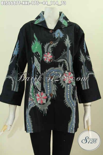 Jual Baju Batik Blus 3L, Pakaian Batik Wanita Gemuk Pross Tulis 100 Ribuan Bahan Halus Lengan 7/8 Model Kerah Kotak [BLS6687T-XXL]